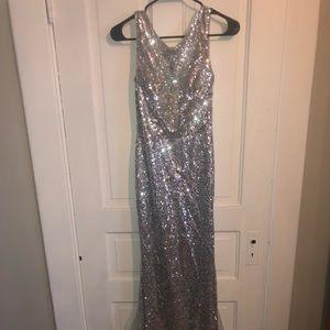Sparkle Silver Sequin Prom Dress